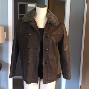 GUESS Brown leather bomber jacket SMALL